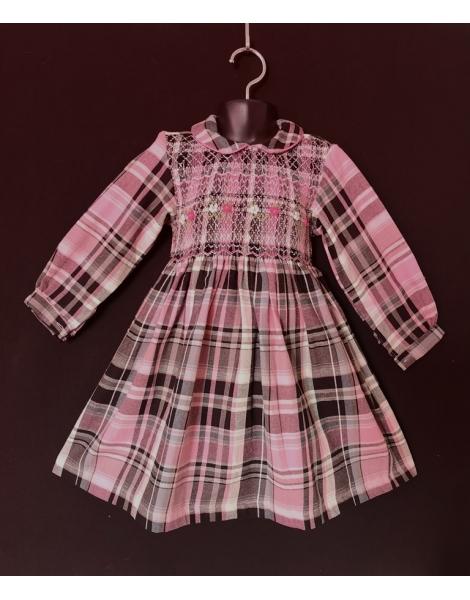 Robe smocks manches longues en coton carreaux rose noir 2