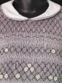 Robe smocks manches ballons en velours gris clair