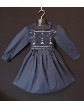 Robe smocks manches longues col volant en coton piqué bleu marine