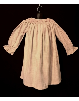 Chemise de nuit smocks longue, manches longues en coton vichy rose