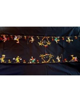 Nappe de table 12 couverts avec serviettes brodées à la main couleur marine