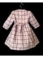 Robe smocks manches 3/4 en coton carreaux écossais rose