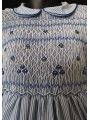 Robe smocks manches ballons col Claudine en coton rayures bleues