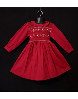 Robe smocks manches longues col volant en velours rouge grenat