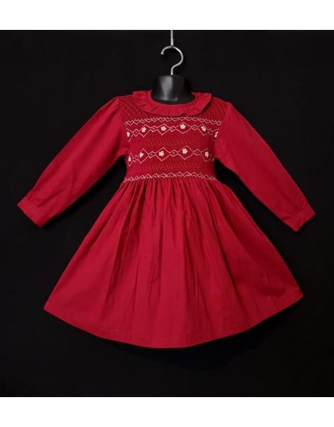 Robe smocks manches longues col volant en velours rouge grenat