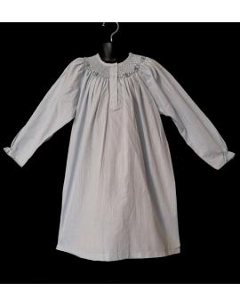 Chemise de nuit smocks longue manches longues tissu en coton bleu ciel
