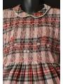 Robe smocks manches 3/4 en coton épais carreaux écossais rose