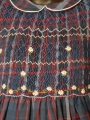 Robe smocks manches 3/4 en coton épais carreaux écossais marine