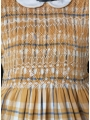 Robe smocks manches longues en coton carreaux écossais jaune