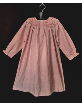 Chemise de nuit smocks longue manches longues en flanelle rose 3 ans à 14 ans