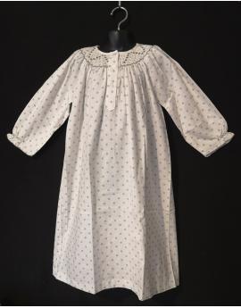 Chemise de nuit smocks longue, manches longues en flanelle blanc à pois 4 ans à 14 ans