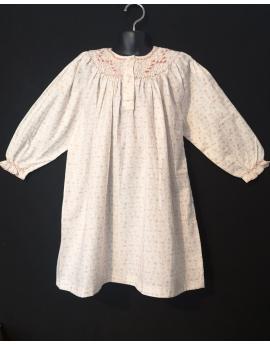 Chemise de nuit smocks manches longues en flanelle blanc imprimé rose