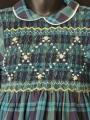 Robe smocks manches 3/4 en coton épais carreaux écossais marine vert