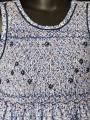 Robe smocks sans manches en coton imprimé fleuri bleu