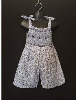 Combi short smocks en coton fleuri bleu