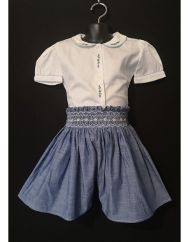 Short smocks en coton bleu