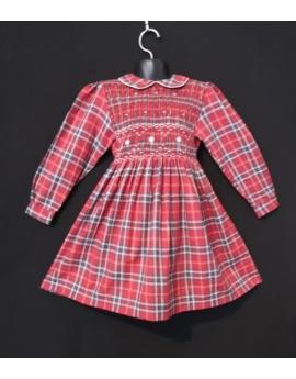 Robe smocks manches longues rouge et bleu carreaux écossais