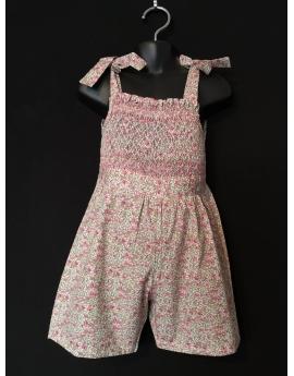 Combi short smocks en coton fleuri beige rose