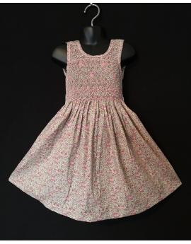 Robe smocks sans manches en coton imprimé fleuri beige rose