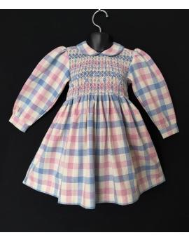 Robe smocks manches longues  bleu ciel rose en coton vichy