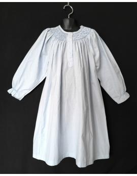 Chemise de nuit smocks longue manches longues en coton bleu ciel