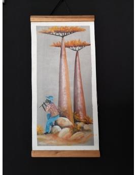 Tableau batik peint à la main 17cm x  33cm
