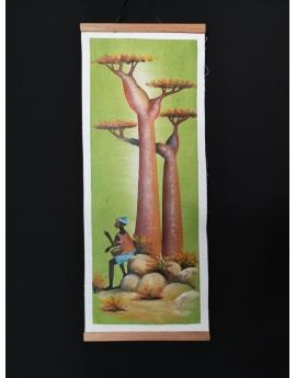Tableau batik peint à la main 20cm x  46,5cm