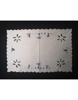 Lot de 6 sets de table rectangle en coton broderie bleue
