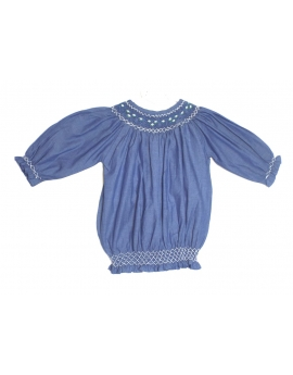 Tunique broderie smocks manches 3/4  1 an