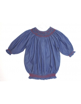 Tunique broderie smocks manches 3/4 6 ans