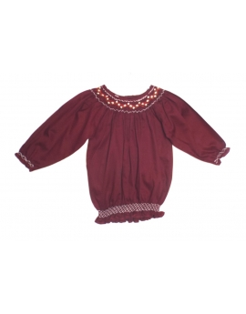 Tunique broderie smocks manches 3/4 8 ans