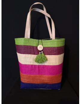 Panier sac de plage en rabane multicolore