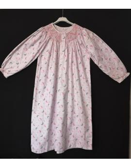 Chemise de nuit smocks en flanelle T38 à T42