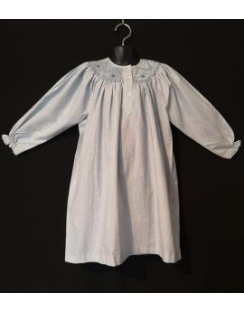 Chemise de nuit smocks longue en flanelle bleu ciel à pois