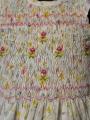 Robe smocks manches volantes en coton imprimé petites fleurs jaunes