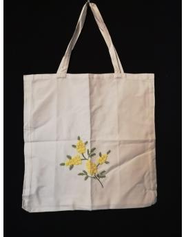 Sac tote bag en coton brodé de mimosa fait main