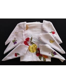 Nappe de table ronde avec 8 serviettes blanches brodées à la main à motif fruits