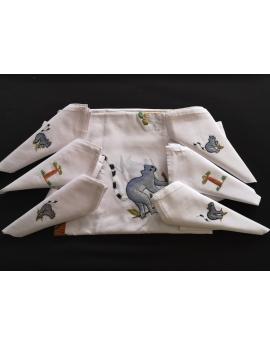 Nappe de table ronde avec 8 serviettes blanches brodées à la main à motif lémurien