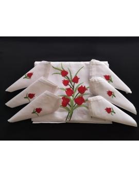 Nappe de table avec 12 serviettes blanches brodées à la main à motif tulipe