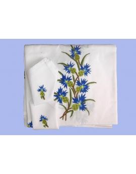 Nappe de table avec 12 serviettes blanches brodées à la main à motif bleuet