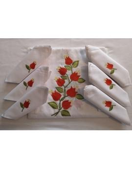 Nappe de table avec 8 serviettes blanches brodées à la main à motif fleur orange