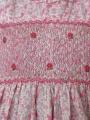 Robe smocks manches volantes en coton rose petites fleurs
