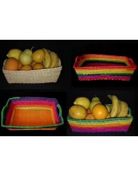 Corbeille à fruits rectangulaire en raphia