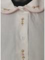 Chemise manches courte brodée fleur bordure rose