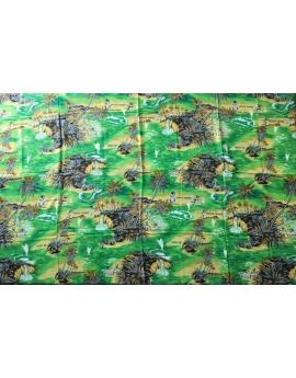 Paréo Lambaoany Salovana en fibranne et coton vert