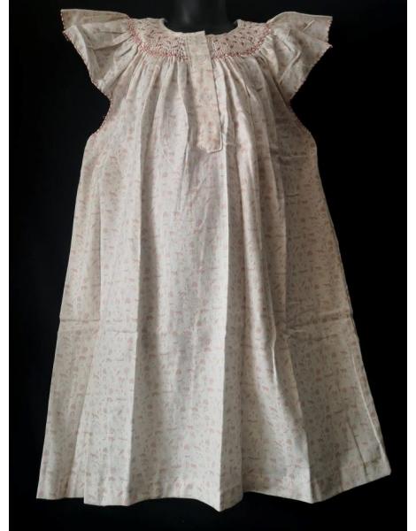 Chemise de nuit smocks manches volantes en coton flanelle imprimé rose