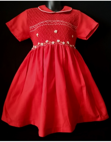 Robe smocks manches courtes en coton rouge