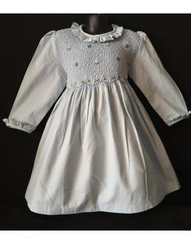 Robe smocks manches longues col Pierrot en coton piqué bleu ciel