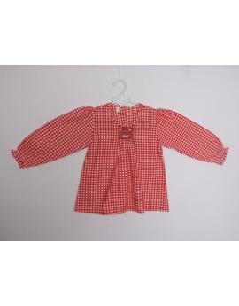 Blouse smock vichy rouge et blanche en coton