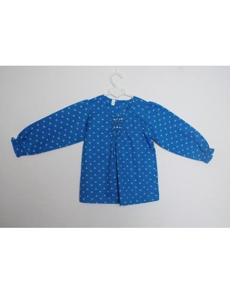 Blouse smock bleue en coton imprimée